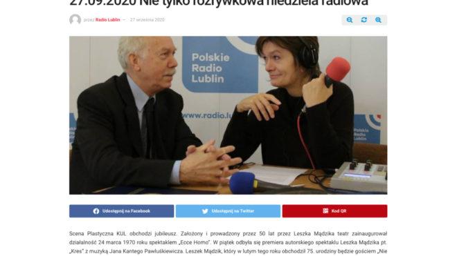 Radio Lublin. Leszek Mądzik u Grażyny Lutosławskiej.